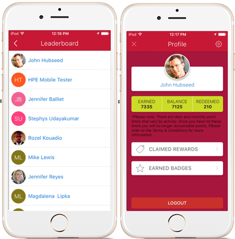 employee app gamification leader boards profile