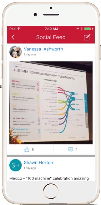 employee app spcial feeds example
